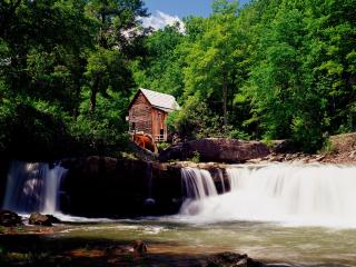 обои Glade Creek Grist Mill,   Babcock State Park,   Clifftop,   West Virginia фото