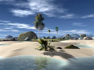 обои Пальмовый остров посреди океана фото