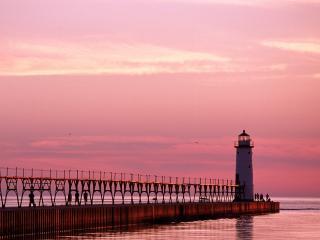 обои Manistee North Pierhead Lighthouse,   Michigan фото