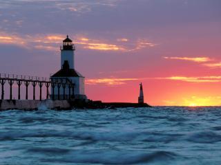 обои Michigan City East Pier Lighthouse,   Michigan City,   Indiana фото