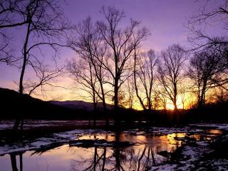 обои Весенние разливные ручьи на закате фото