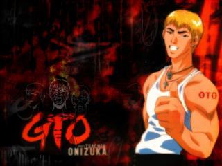 обои GTO - Довольный Онизука на черно-красном фоне фото