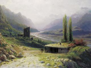 обои Лев ЛАГОРИО (1827-1905). Кавказское ущелье. 1893. Холст,   масло,   53х76 см фото