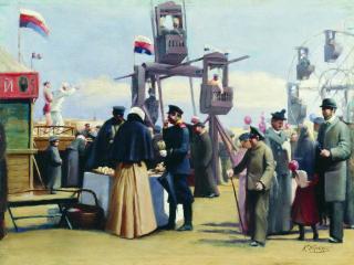 обои Константин МАКОВСКИЙ (1839-1915). Московские балаганы. Холст,   масло фото