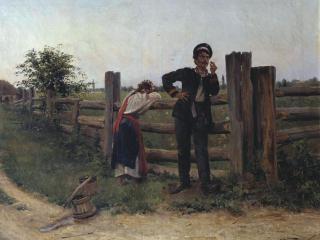 обои Александр МАКОВСКИЙ (1869-1924). Надоела. 1897. Холст,   масло фото