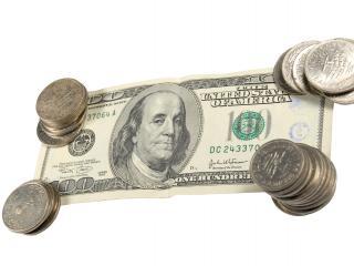 обои Сто Долларов и монеты фото
