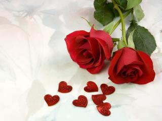 обои 2 красные розы и сердечки фото