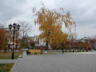обои Городской сквер осенью фото