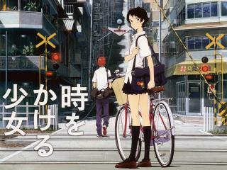 обои Макото с велосипедом на фоне города фото