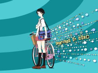 обои для рабочего стола: Макото с велосипедом