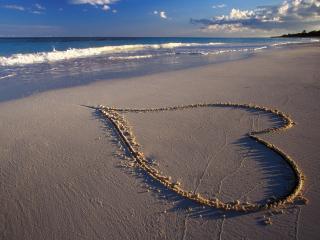 обои Сердце из песка фото