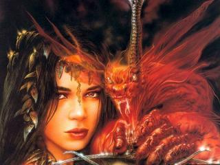 обои Девушка и дракон фото