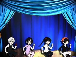 обои D.Gray-Man - Четыре персонажа на сцене фото