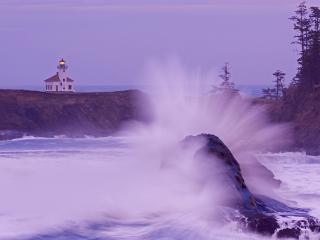 обои Crashing Wave,   Cape Arago Lighthouse,   Oregon фото