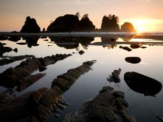обои Sunset Over Point of the Arches,   Shi Shi Beach,   Olympic National Park,   Washington фото
