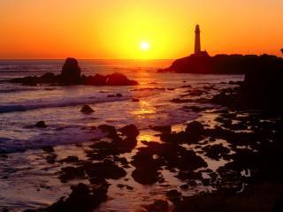 обои Golden Sunset over Pigeon Point,   San Mateo County,   California фото
