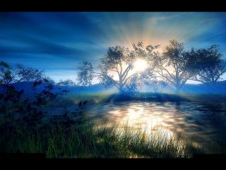 обои Восход солнца над тихой заводью фото
