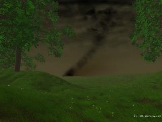 обои Черный пыльный вихрь приближается к лесу фото