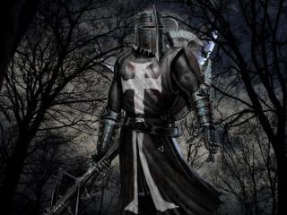 обои для рабочего стола: Средневековый рыцарь крестоносец