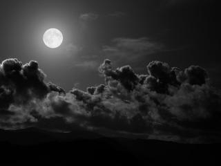 обои Черная ночь,   яркая луна фото
