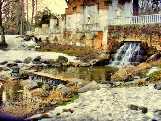 обои для рабочего стола: Руины и водопад