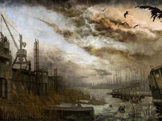 обои Портовые Краны на Затоне фото