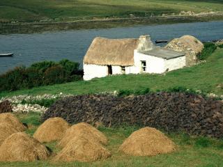 обои Фермерский домик с соломенной крышей у реки фото
