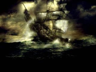 обои Корабль попал в шторм фото