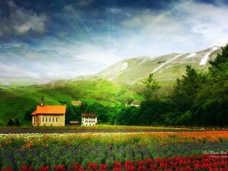 обои Поле,   горы,   дом фото