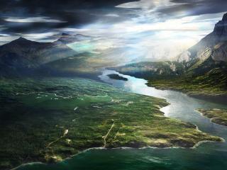 обои Одинокая горная речка фото