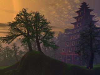 обои Пагода в тумане фото