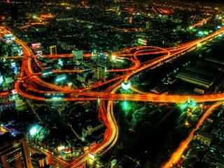 обои Пересечение ночных магистралей фото