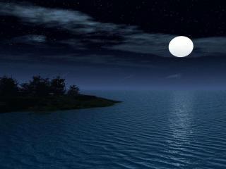 обои Луна над морем фото