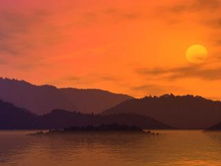 обои Оранжевое солнце фото