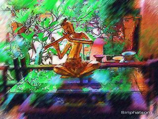 обои Нарисованный мужчина с музыкальным инструментом фото