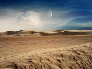 обои Полупрозрачная луна над бархатистой пустыней фото