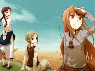 обои Трое подруг смотрят в даль фото
