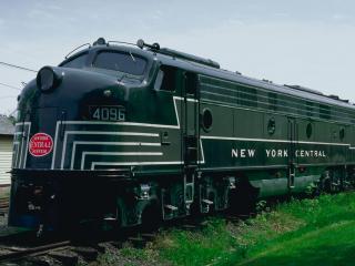 обои Зелёный поезд фото