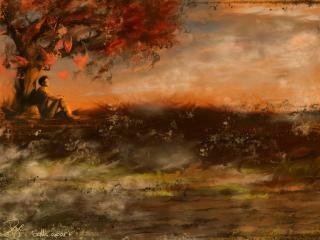 обои Пейзаж с человеком у дерева фото