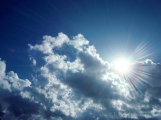 обои Солнце из за облаков фото