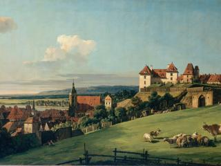 обои Bellotto, Bernardo - View of Pirna from the Sonnenstein Castle фото