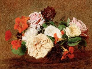 обои Розы и настурции в вазе фото