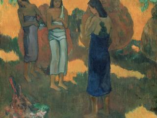 обои Three Tahitian Women Against a Yellow Background фото