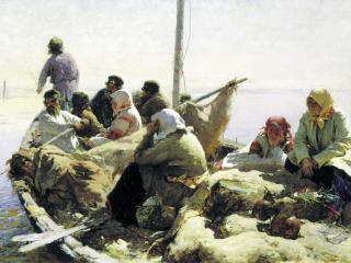 обои По реке Оке. 1889, холст, масло, 41х77 см фото