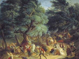 обои Землетрясение в Рокка ди Папа близ Рима. 1830 фото