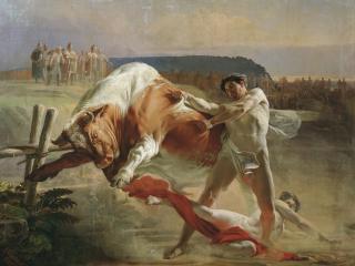 обои Ян Усмовец, удерживающий быка фото