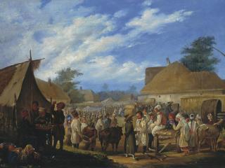 обои Штенберг Василий (1818-1845). Ярмарка на Украине. Холст, масло фото
