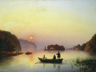 обои Иванов Антон (1818-1864). Переправа Н.В.Гоголя через Днепр. 1845. Холст, масло фото