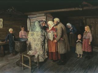 обои Коровин Петр (1857-1919). Крестины. 1896. Холст, масло. 50х68 см фото
