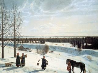 обои для рабочего стола: Зимний пейзаж. Русская зима